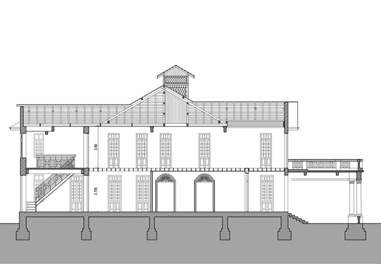 Cross-section of the existing building